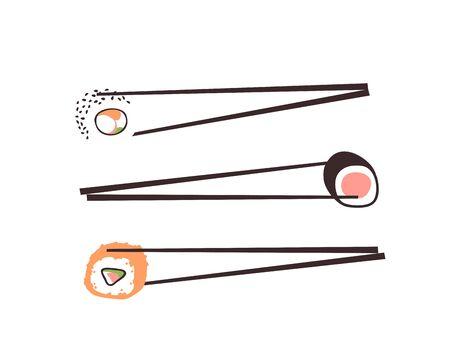 Dibujado a mano ilustración comida de mar. Trabajo de arte de tinta creativa cena asiática. Rollo de sushi de dibujo vectorial real