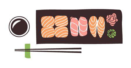 Frutti di mare illustrazione disegnata a mano. Cena asiatica dell'opera d'arte creativa dell'inchiostro. Rotolo di sushi con disegno vettoriale reale Vettoriali