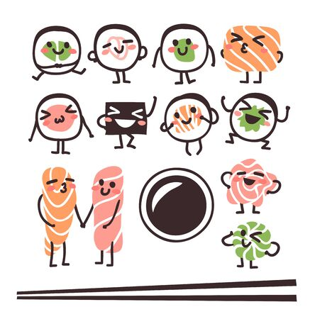 Hand drawn illustration sea food emoticon. Creative ink art work Asian dinner. Actual vector drawing sushi roll emoji
