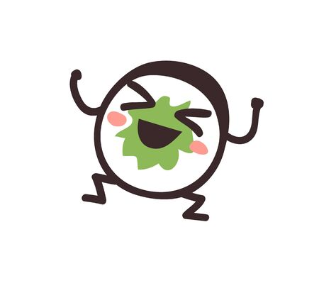 Hand drawn illustration sea food emoticon. Creative ink art work Asian dinner. Actual vector drawing sushi roll emoji