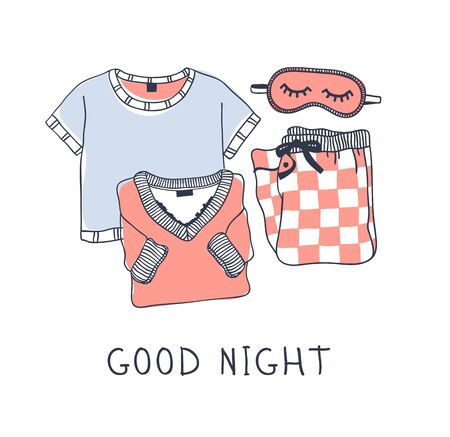 Hand drawn objects about Sleep Routines and text.Vector Cozy Illustration. Creative artwork. Set of doodle pajamas and quote GOOD NIGHT