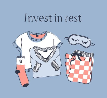 Hand drawn objects about Sleep Routines and text.Vector Cozy Illustration. Creative artwork. Set of doodle pajamas and quote INVEST IN REST