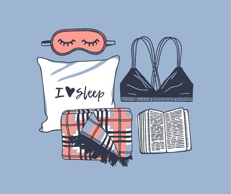 Hand drawn objects about Sleep Routines and text.Vector Cozy Illustration. Creative artwork. Set of doodle pillow and quote Banque d'images - 131134011