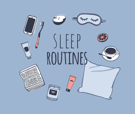 Hand drawn objects about Sleep Routines and text.Vector Cozy Illustration. Creative artwork. Set of doodle pillow and quote Banque d'images - 131134014