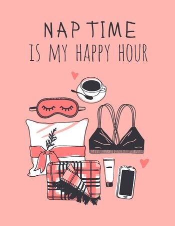 Hand drawn objects about Sleep Routines and text.Vector Cozy Illustration. Creative artwork. Set of doodle pillow and quote NAP TIME IS MY HAPPY HOUR Banque d'images - 131134018