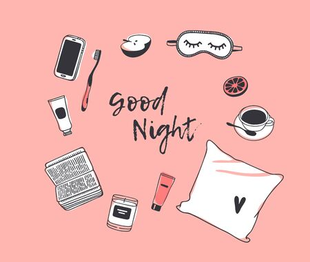 Hand drawn objects about Sleep Routines and text.Vector Cozy Illustration. Creative artwork. Set of doodle pillow and quote GOOD NIGHT