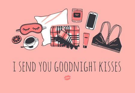 Hand drawn objects about Sleep Routines and text.Vector Cozy Illustration. Creative artwork. Set of doodle pillow and quote I SEND YOU GOODNIGHT KISSES Illustration