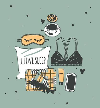 Hand drawn objects about Sleep Routines and text.Vector Cozy Illustration. Creative artwork. Set of doodle pillow and quote Banque d'images - 131134026