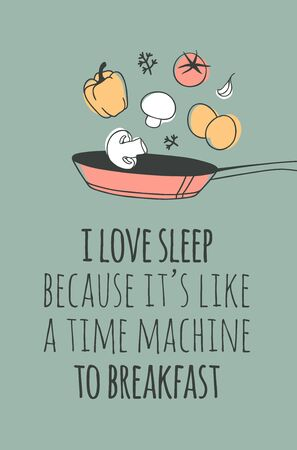 Hand drawn objects about Sleep Routines and text.Vector Cozy Illustration Breakfast. Creative artwork. Set of doodle and quote Standard-Bild - 131134027