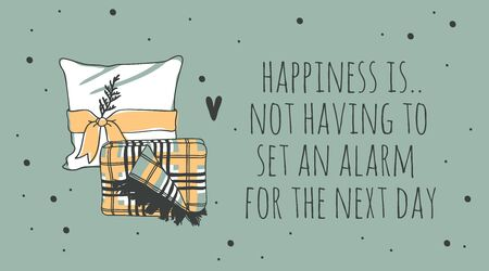 Hand drawn objects about Sleep Routines and text.Vector Cozy Illustration. Creative artwork. Set of doodle pillow and quote