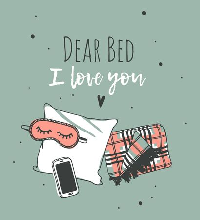 Hand drawn objects about Sleep Routines and text.Vector Cozy Illustration. Creative artwork. Set of doodle pillow and quote  DEAR BED I LOVE YOU Stock Illustratie