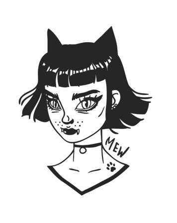 Hand Drawn portrait Stylish Cat Woman. Beautiful Fashion Illustration face on white background. Doodle Vector pattern attractive Teenager Halloween Girl  イラスト・ベクター素材