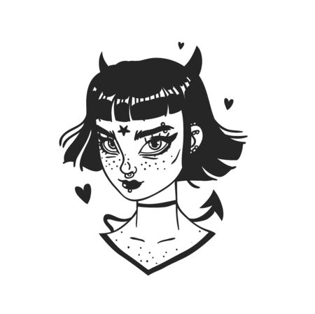 Hand Drawn portrait Stylish Devil Woman. Beautiful Fashion Illustration face on white background. Doodle Vector pattern attractive Halloween Teenager Girl 스톡 콘텐츠 - 130052826