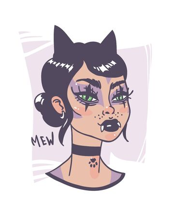 Hand Drawn portrait Stylish Cat Woman. Beautiful Fashion Illustration face on white background. Doodle Vector pattern attractive Teenager Halloween Girl 스톡 콘텐츠 - 131134036