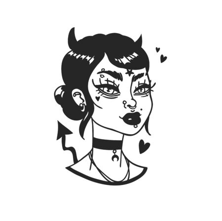 Hand Drawn portrait Stylish Devil Woman. Beautiful Fashion Illustration face on white background. Doodle Vector pattern attractive Halloween Teenager Girl