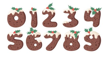 Cartoon vector illustration Christmas Pudding. Hand drawn font. Actual Creative Holidays bake alphabet and numbers