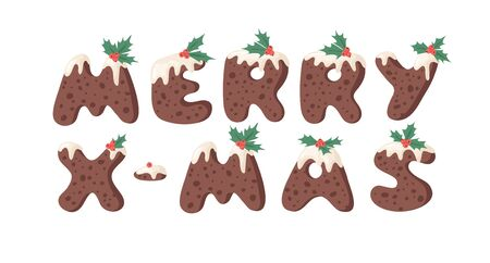 Cartoon vector illustration Christmas Pudding. Hand drawn font. Actual Creative Holidays bake alphabet and text MERRY X-MAS