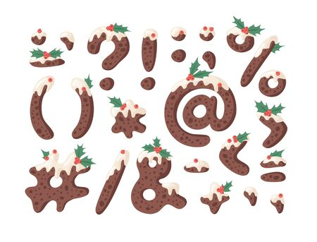 Cartoon vector illustration Christmas Pudding. Hand drawn font. Actual Creative Holidays bake alphabet and signs Ilustracja