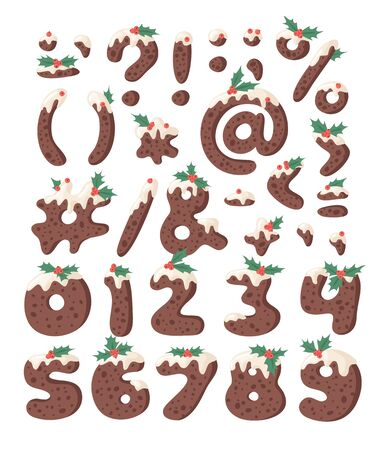 Cartoon vector illustration Christmas Pudding. Hand drawn font. Actual Creative Holidays bake alphabet, numbers and signs