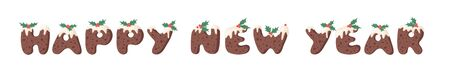 Cartoon vector illustration Christmas Pudding. Hand drawn font. Actual Creative Holidays bake alphabet and text HAPPY NEW YEAR Standard-Bild - 131134038
