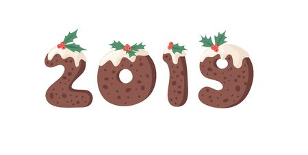 Cartoon vector illustration Christmas Pudding. Hand drawn font. Actual Creative Holidays bake alphabet and numbers 2019
