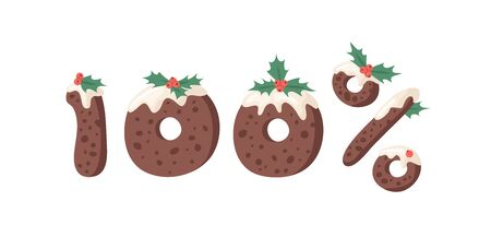 Cartoon vector illustration Christmas Pudding. Hand drawn font. Actual Creative Holidays bake alphabet and numbers 100%