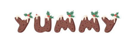 Cartoon vector illustration Christmas Pudding. Hand drawn font. Actual Creative Holidays bake alphabet and word YUMMY Standard-Bild - 131134049