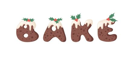 Cartoon vector illustration Christmas Pudding. Hand drawn font. Actual Creative Holidays bake alphabet and word BAKE Standard-Bild - 130052969