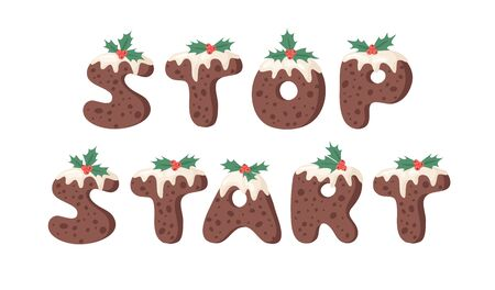 Cartoon vector illustration Christmas Pudding. Hand drawn font. Actual Creative Holidays bake alphabet and words STOP, START Standard-Bild - 130052972