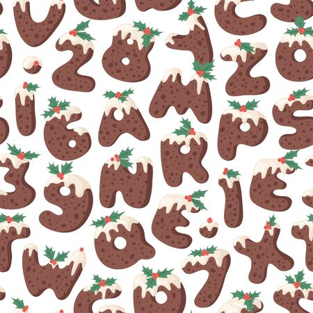 Cartoon vector illustration Christmas Pudding. Hand drawn seamless pattern with font. Actual Creative Holidays bake alphabet