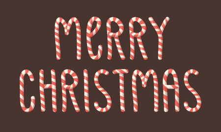 Cartoon vector illustration Christmas Candy Cane. Hand drawn font. Actual Creative Holidays sweet alphabet and MERRY CHRISTMAS