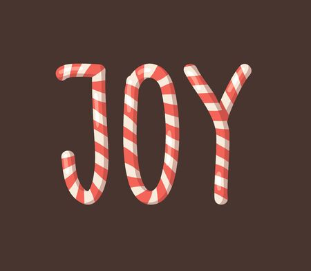 Cartoon vector illustration Christmas Candy Cane. Hand drawn font. Actual Creative Holidays sweet alphabet and word JOY