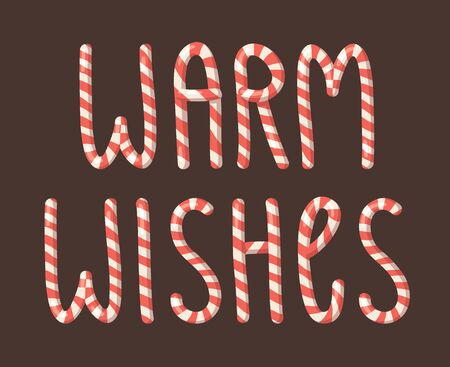 Cartoon vector illustration Christmas Candy Cane. Hand drawn font. Actual Creative Holidays sweet alphabet and word WARM WISHES