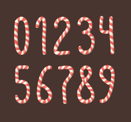 Cartoon illustration Christmas Candy Cane. Hand drawn font. Actual Creative Holidays sweet alphabet and numbers