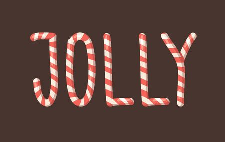 Cartoon vector illustration Christmas Candy Cane. Hand drawn font. Actual Creative Holidays sweet alphabet and word JOLLY