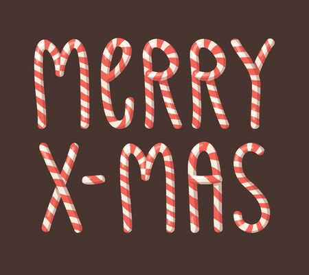 Cartoon vector illustration Christmas Candy Cane. Hand drawn font. Actual Creative Holidays sweet alphabet and word MERRY X-MAS