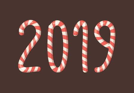 Cartoon vector illustration Christmas Candy Cane. Hand drawn font. Actual Creative Holidays sweet alphabet and numbers 2019