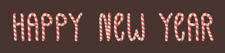 Cartoon vector illustration Christmas Candy Cane. Hand drawn font. Actual Creative Holidays sweet alphabet and words HAPPY NEW YEAR