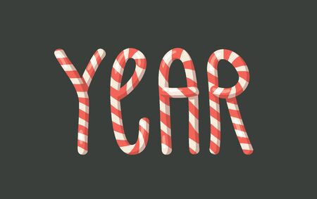 Cartoon vector illustration Christmas Candy Cane. Hand drawn font. Actual Creative Holidays sweet alphabet and word YEAR