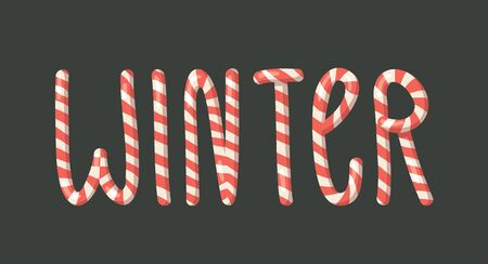 Cartoon vector illustration Christmas Candy Cane. Hand drawn font. Actual Creative Holidays sweet alphabet and word WINTER