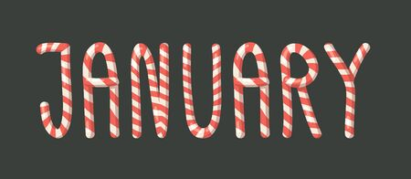 Cartoon vector illustration Christmas Candy Cane. Hand drawn font. Actual Creative Holidays sweet alphabet and word JANUARY
