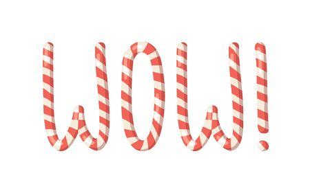Cartoon vector illustration Christmas Candy Cane. Hand drawn font. Actual Creative Holidays sweet alphabet and word WOW!
