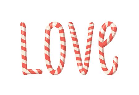 Cartoon vector illustration Christmas Candy Cane. Hand drawn font. Actual Creative Holidays sweet alphabet and word LOVE