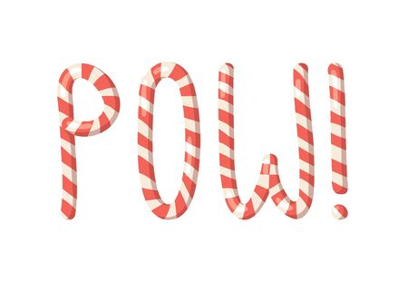 Cartoon vector illustration Christmas Candy Cane. Hand drawn font. Actual Creative Holidays sweet alphabet and word POW!
