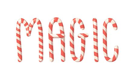 Cartoon vector illustration Christmas Candy Cane. Hand drawn font. Actual Creative Holidays sweet alphabet and word MAGIC