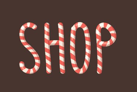 Cartoon vector illustration Christmas Candy Cane. Hand drawn font. Actual Creative Holidays sweet alphabet and word SHOP