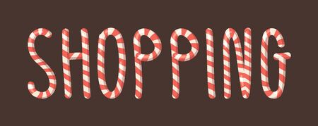 Cartoon vector illustration Christmas Candy Cane. Hand drawn font. Actual Creative Holidays sweet alphabet and word SHOPPING