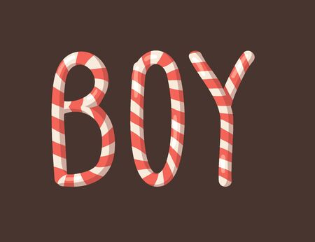 Cartoon vector illustration Christmas Candy Cane. Hand drawn font. Actual Creative Holidays sweet alphabet and word BOY