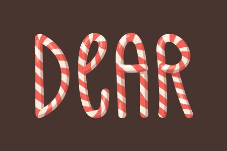 Cartoon illustration Christmas Candy Cane. Hand drawn font. Actual Creative Holidays sweet alphabet and word DEAR 矢量图片