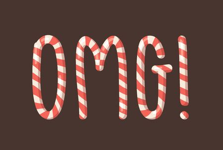 Cartoon vector illustration Christmas Candy Cane. Hand drawn font. Actual Creative Holidays sweet alphabet and word OMG!